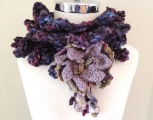 Floral Crochet Chunky Scarf