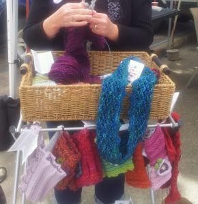 Knitting at the Market