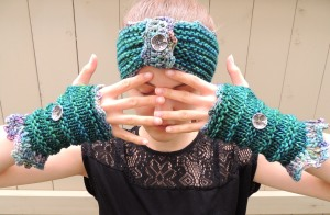 Eclectic Waves Ear Warmer, Fingerless Gloves
