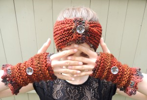 Eclectic Waves Ear Wamer, Fingerless Gloves