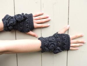 Rose Onie Fingerless Gloves Grey
