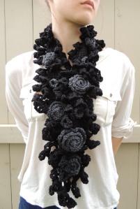 Rose Onie Scarf Black Grey