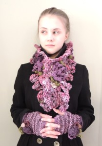 Pink Floral Chunky scarf  Time 4 you hand warmer