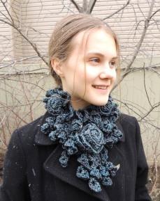 Rose Onie Bulky scarf Grey/Blue