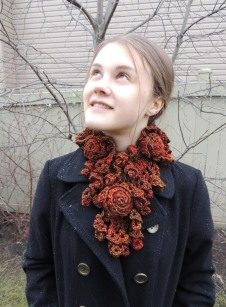 Rose Onie Bulky Scarf orange