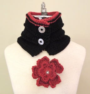 Floral Heart scarf and broche