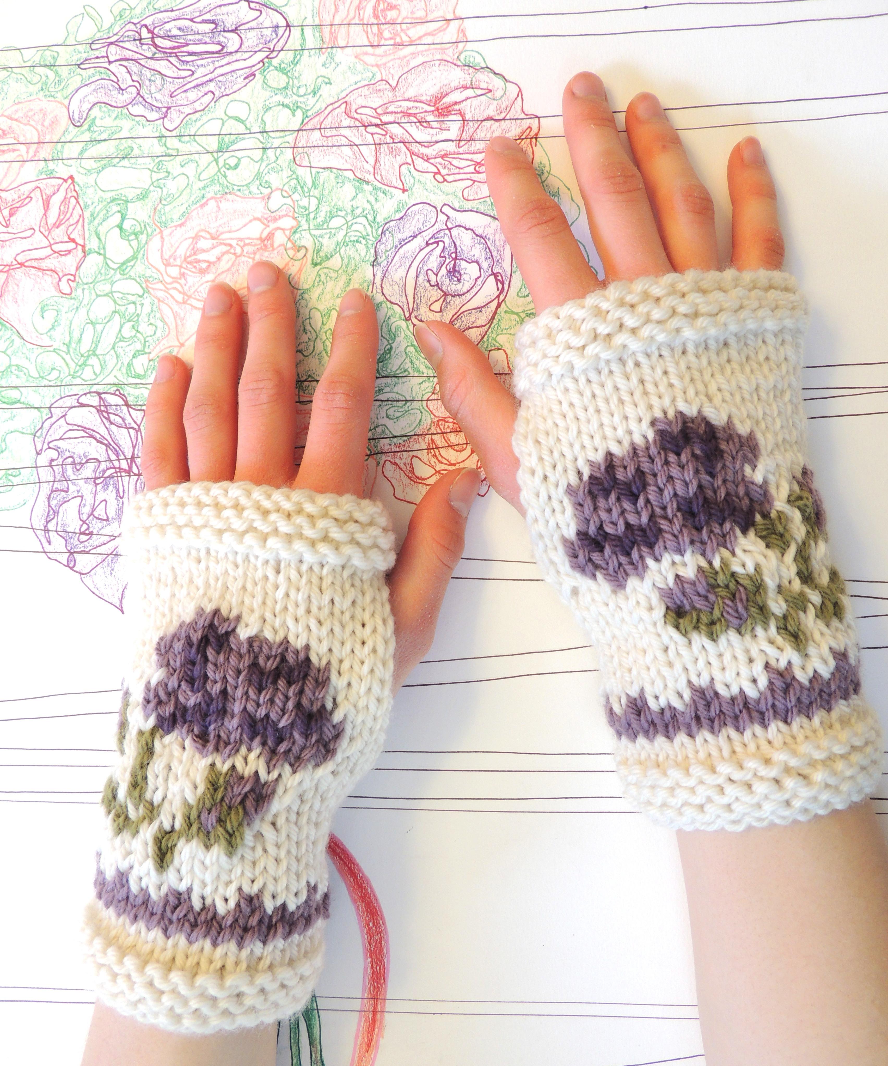 INTARSIA ROSE Fingerless Gloves?Knitting Pattern! Valerie Baber Designs - I...
