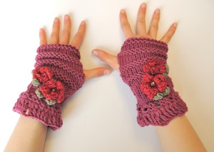 Cherry Blossom fingerless gloves