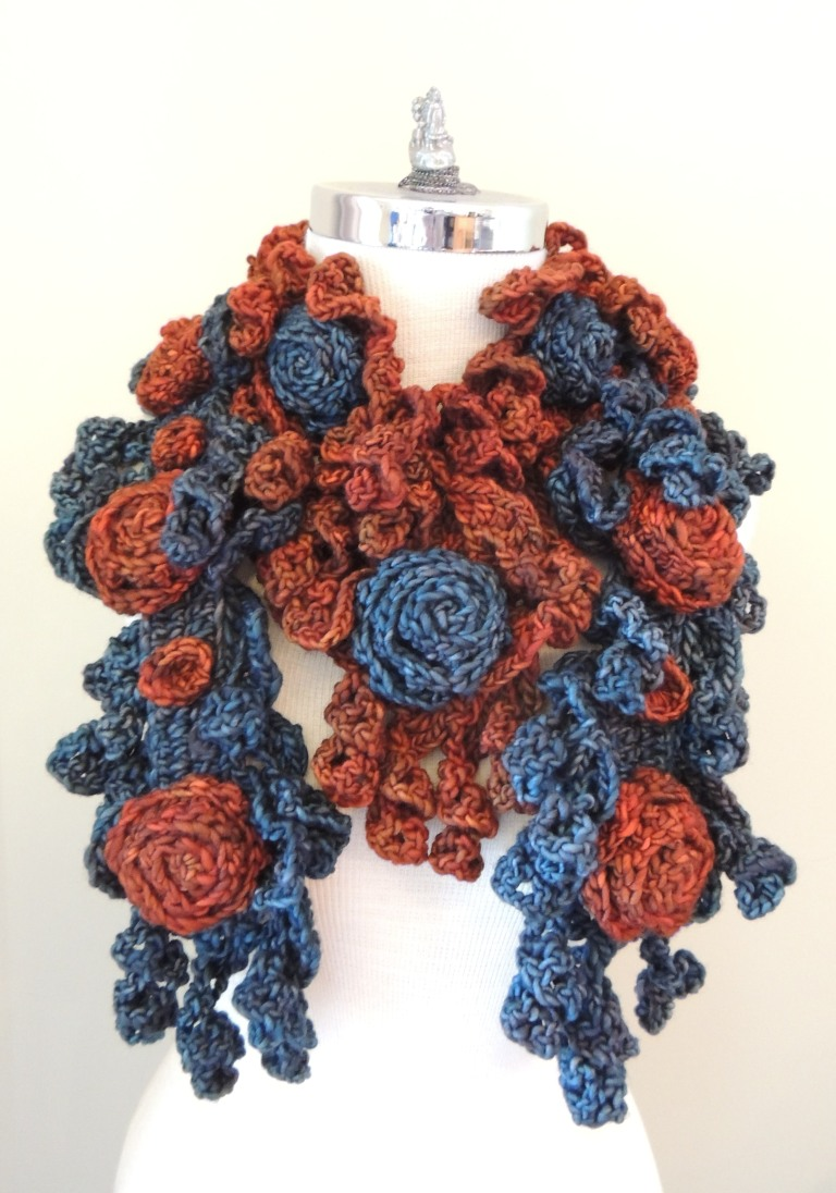 rose onie bulky blue grey orange mix