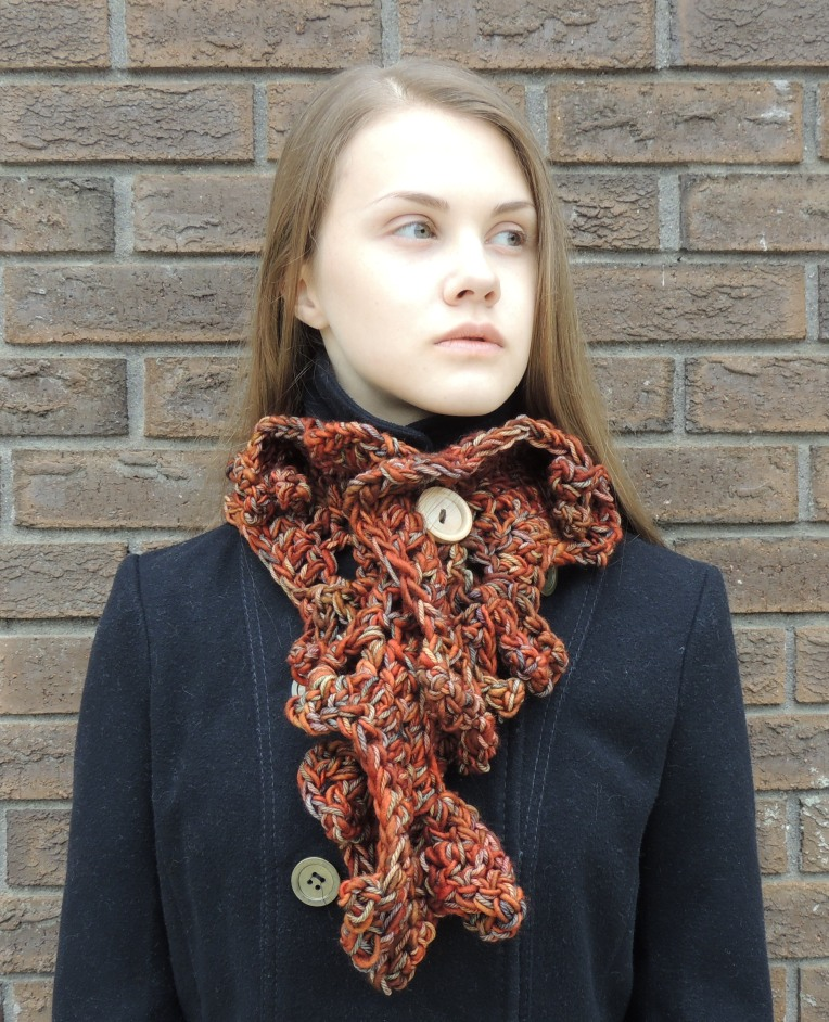 sculptured scarf orange1