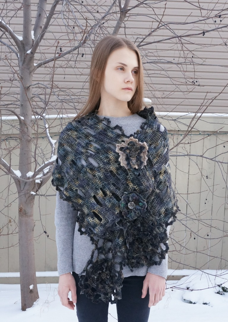 architectural stone wall lace shawl scarf1a