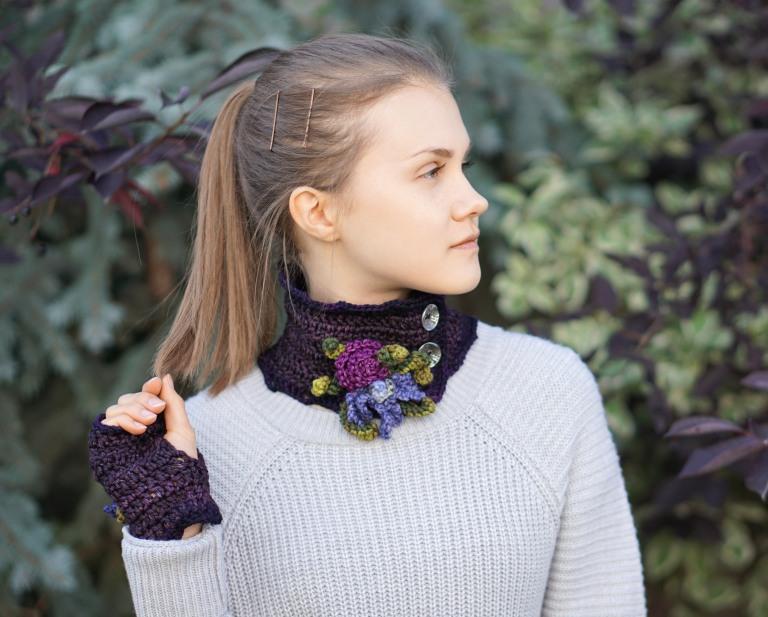 iris collar scarf purple1