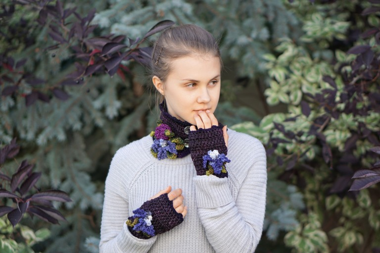iris collar scarf purple4