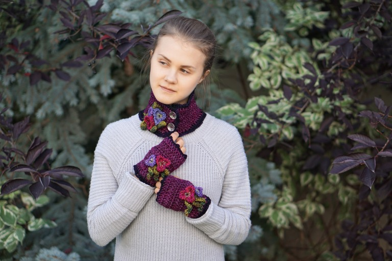 pansy collar scarf mulberry5