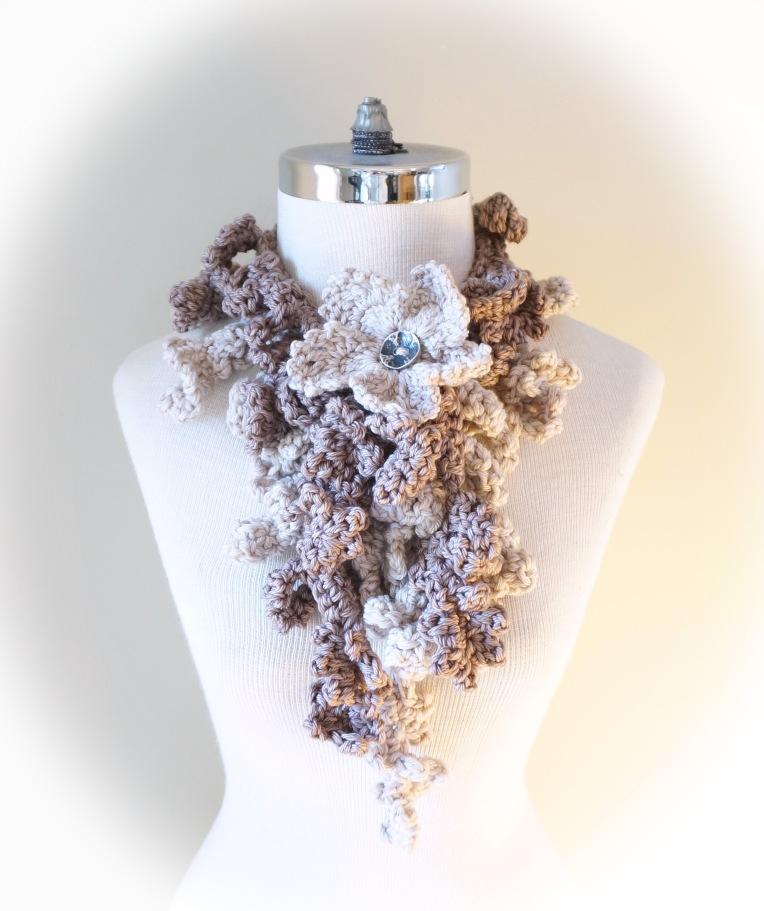 floral frieze vines scarf gothic ivory beige med11