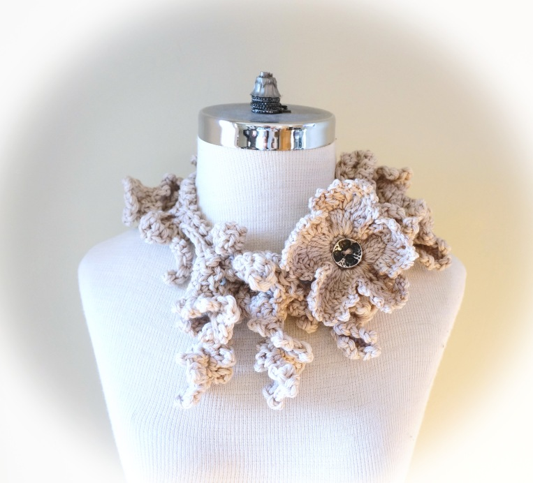 floral frieze vines scarf gothic ivory beige med3