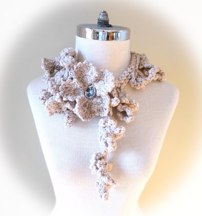 floral frieze vines scarf gothic ivory beige med5