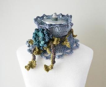 floral frieze collar scarf grey blue green brown5