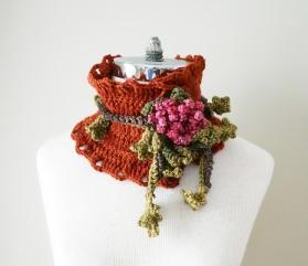 floral frieze collar scarf peony orange pink blue green brown