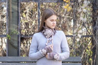 floral rose scarf beige ivory