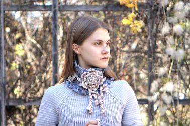floral rose scarf grey4JPG