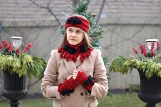 rose onie scarf hand warmer ear warmer set red6