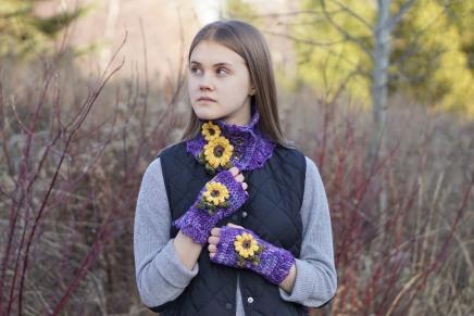 sunflower scarf purple7