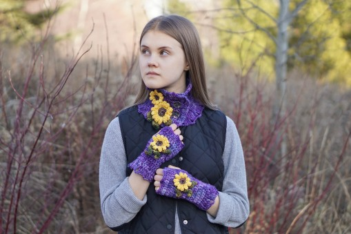 sunflower scarf purple7