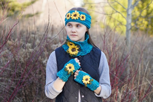 sunflower scarf turquoise1