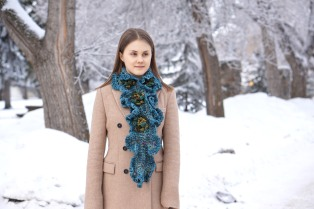 floral hand spun scarf blue7