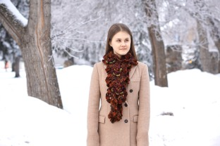 floral hand spun scarf orange4