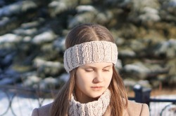 joy cable ear warmer ivory
