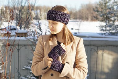 joy cable ear warmer purple mix