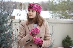 peony ear warmer hand warmer pink1
