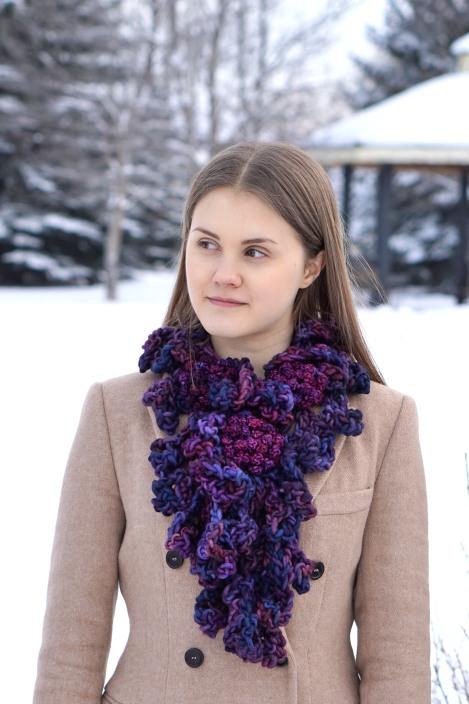peony scarf bulky yarn long