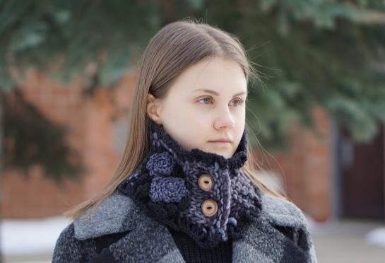 rose collar scarf chunky black grey6