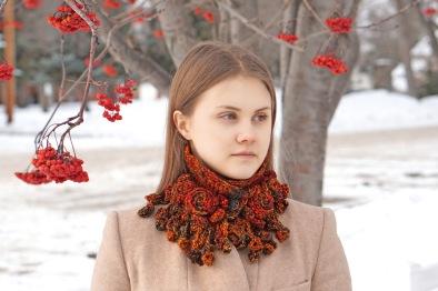 rose onie collar scarf chunky orange3