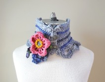 wild rose scarf grey pink