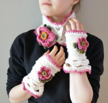 wild rose scarf hand warmers ivory pink1