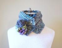 floral vine knit scarf blue1