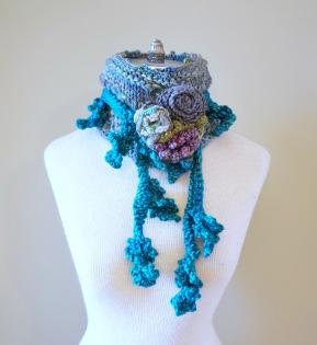 floral vine knit scarf blue3