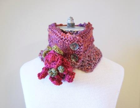 floral vine knit scarf pinkrose