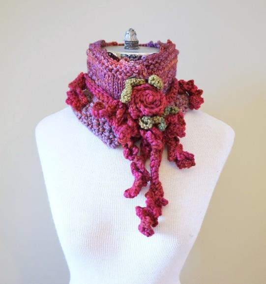 floral vine knit scarf pinkrose1