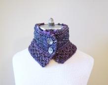 floral vine knit scarf purple