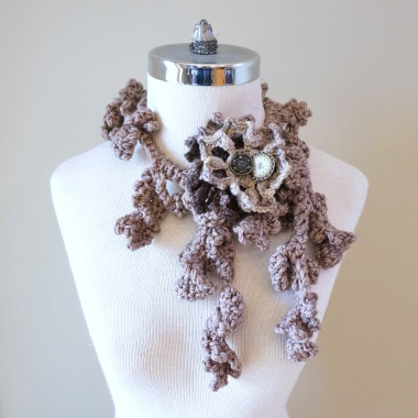 floral vines brown ivory scarf