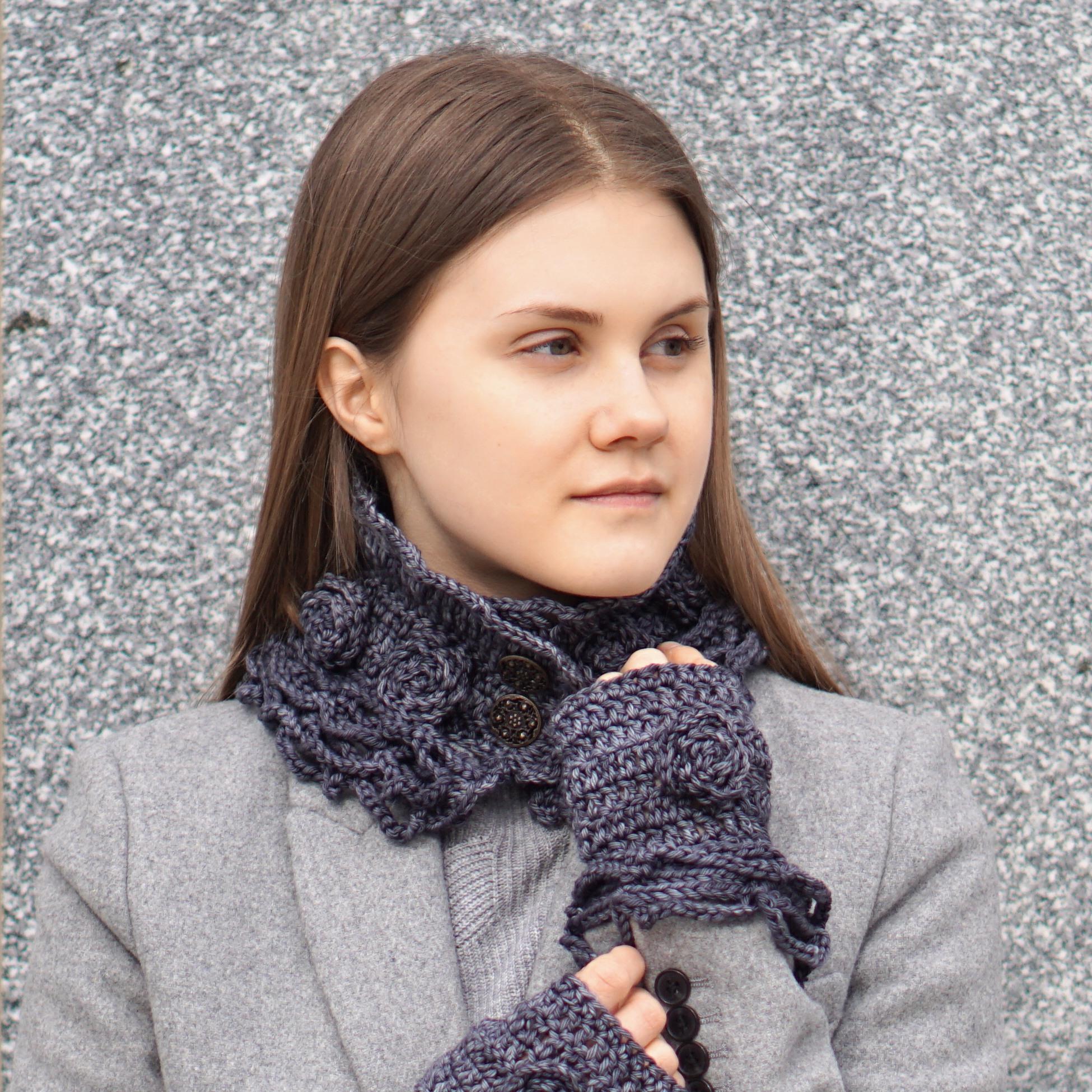 sophia rose classic collar scarf dk gray1