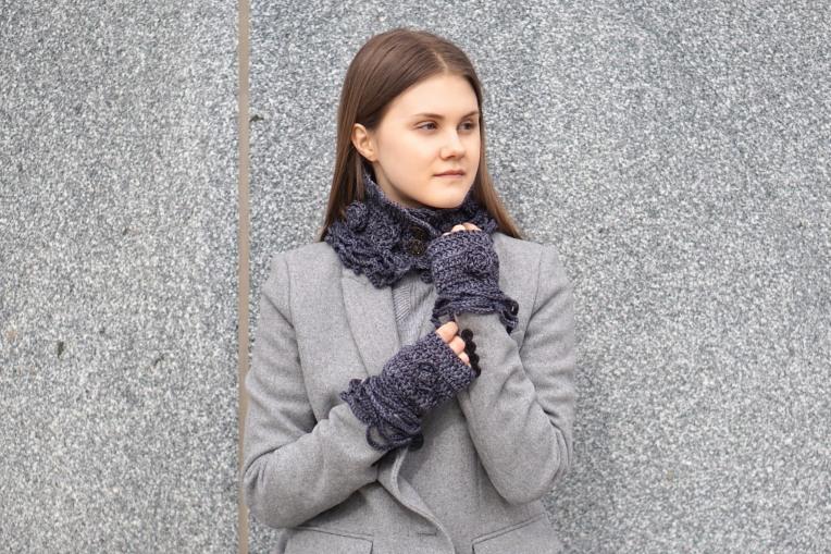 sophia rose classic collar scarf dk gray2
