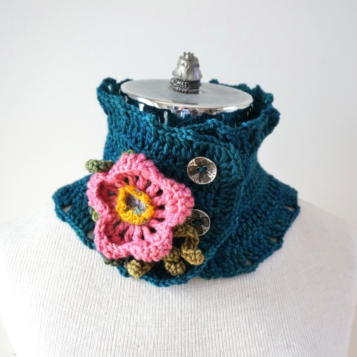 wild rose scarf teal1