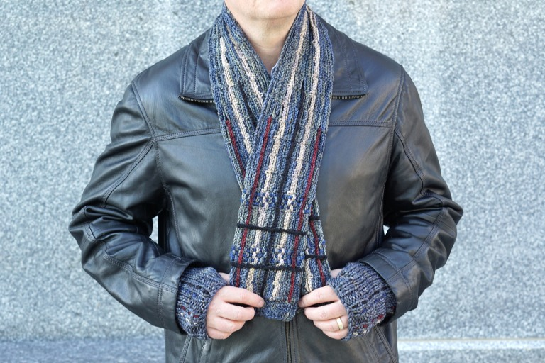 plaid scarf men's gray combo hand warmers