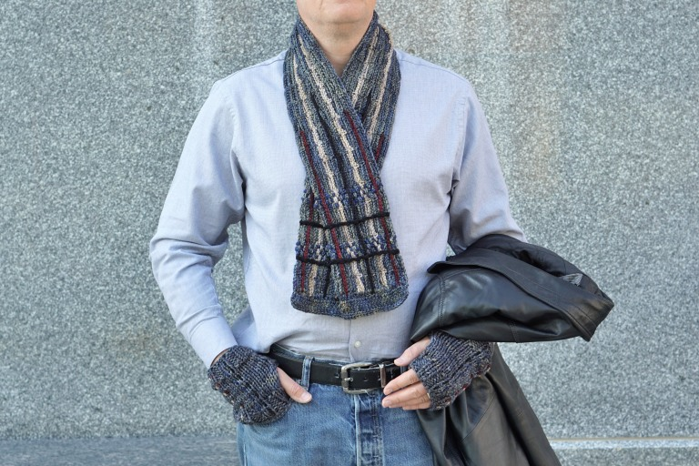 plaid scarf men's gray combo hand warmers1